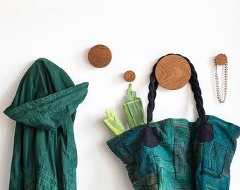 Wall hooks - coat hooks - modern hooks - wood wall hooks - round hooks - coat hook - decorative hooks - entryway hooks - hallway decor