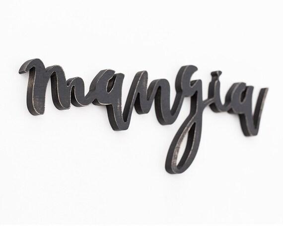 Mangia Sign Wooden Kitchen Sign Italian Wall Art