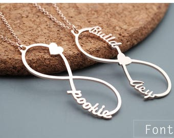 Personalized Infinity Necklace- Infinity Necklace with Names -Silver Name Necklace - Infinity Jewelry - Personalized Gift- Mother's day gift