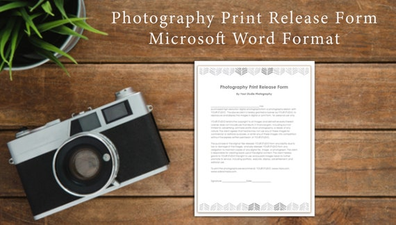 Photography Print Release Template Photographer Form Template Photoshop Template Microsoft Word Instant Download