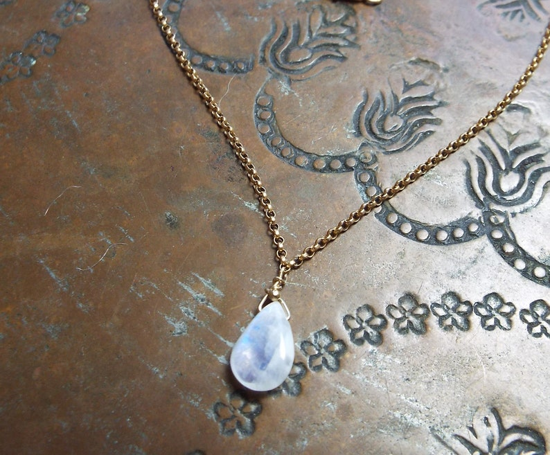 White Moonstone Blue Flash and Gold Filled Chain Anklet 10 inch Lobster clasp
