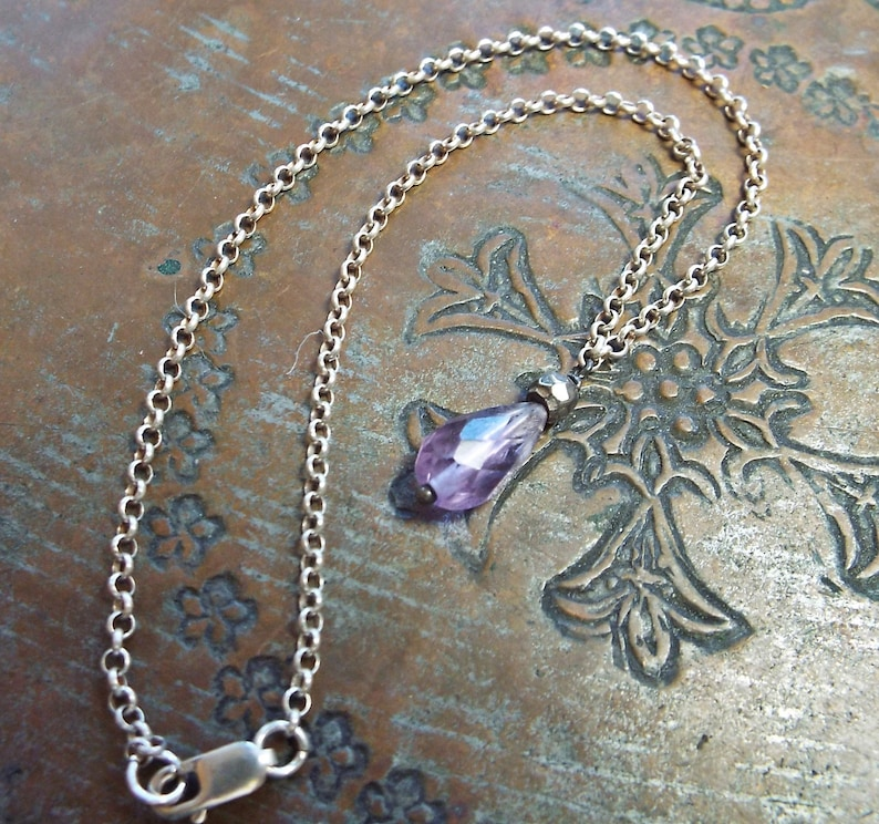 Purple Amethyst and Sterling Silver Rolo Chain Anklet 9.5 inch Lobster clasp