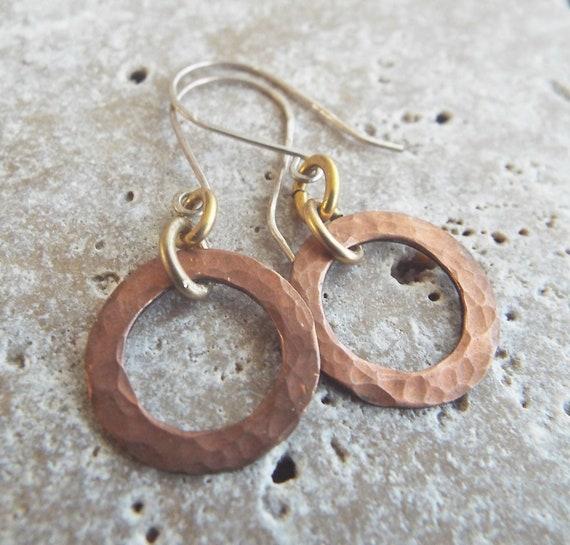 Seahorse Boho Artisan Earrings Enameled Copper and Czech Glass Dangles Sterling Silver Ear Wires