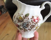 Johnson Brothers Staffordshire Bouquet Creamer Pitcher, Brown Multicolor Creamer, Very good Transferware China Galore