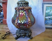 Gorgeous Iridescent Large Table Lamp, Two Available, Very good in great working condition, Shiny iridescent Pressed glass Lamp, China Galore