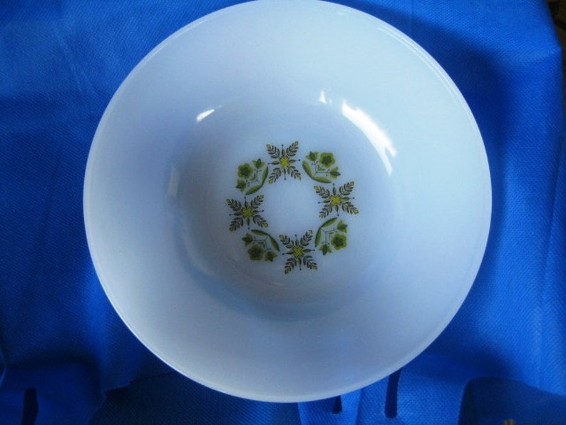Dinnerware Oven to Table Bowl, Vintage Anchor Hocking Green Meadow Dinnerware Bowl Great