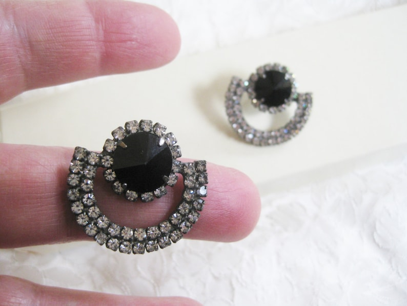 backs not included Vintage  Dazzling Rhinestone pierced earrings boho mod Very good no condition issues