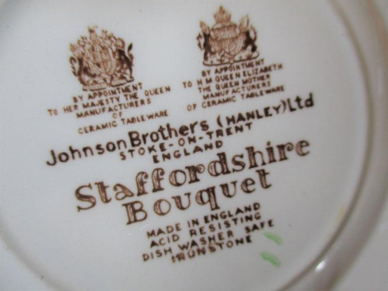 Johnson Brothers Staffordshire Bouquet  Bread plates  Brown Multicolor  Set of 4   good Transferware  China Galore Cottage chic retro boho