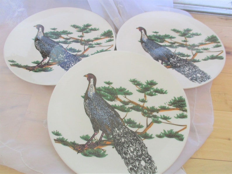 Peacock plates CMG Peacock luncheon plates Good to very good vintage with chips,EXACT item shown,THREE included,Peacock China Galore