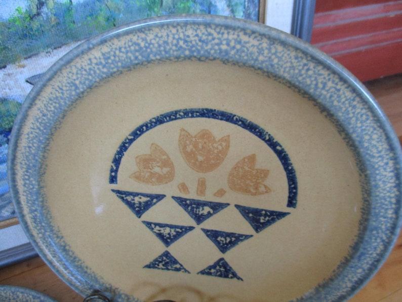 RARE Pfaltzgraff America Sponged Stoneware Basket Dinner plates  Set of 4   very good  China Galore Americana dishes Americana Retro Boho