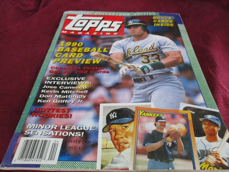 Topps Magazine Collectors Edition Winter 1990 Good To Very Good Baseball Collectibles Canseco Griffin Mattingly