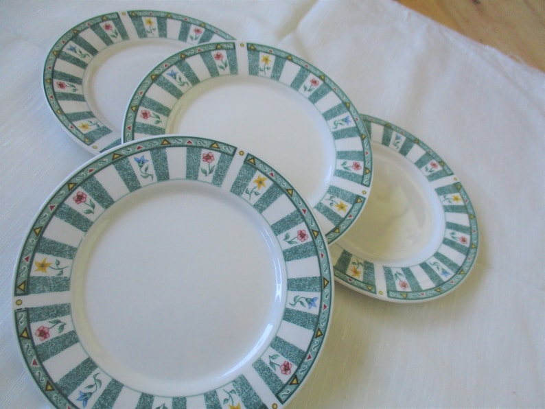 Vintage Oneida Chelsea Square Genuine Stoneware bread plates Very good TWO sets pf 4 available China Galore Set of FOUR  included
