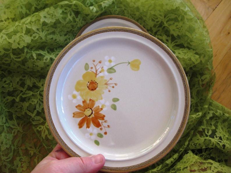 Great Set of THREE Vintage Handpainted Dinner Plates Autumn Glory