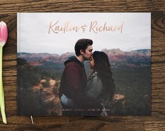Photo Wedding Guest Book 10x8 Wedding Guestbook Real Rose Gold Foil Custom Guest Book Wedding Gift Custom Photo Guestbook Alternative