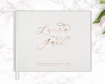 Real Rose Gold Foil Wedding Guest Book 10x8, Guest Book, Custom Guest Book, Wedding Gift, Sign In Book, Wedding Journal, Wedding Notebook