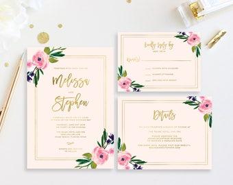 Printable Wedding Invitation, Blush and Gold Wedding Invitations, Floral Wedding Invite, Wedding Invitation Template, Printable Invite