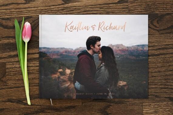 Photo Wedding Guest Book 8x10 Wedding Guestbook Real Gold Foil Custom Guest Book Wedding Gift Custom Photo Guestbook Alternative