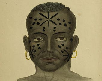 1855 Native of Mozambique, Prichards Natural History of Man, African print, Antique Bookplate