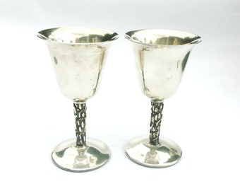 Pinder Brothers wine sherry goblets, Silver plated wine glasses, Ribbed bark stems, Mid century metal cups