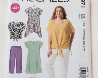 Plus-Size Top, Tunic, Pants, Shorts and Dress Sewing Pattern McCall's M6971 Plus-Size Sizes 18W-24W Size RR