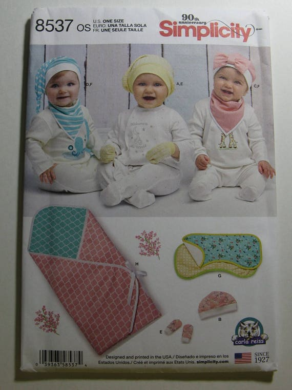 Einfachheit Nähen Muster 8537 Baby Accessoires-Hut Schleife