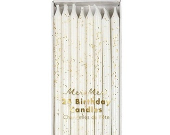 Gold Glitter Tall Birthday Cake Candles 24 Ct