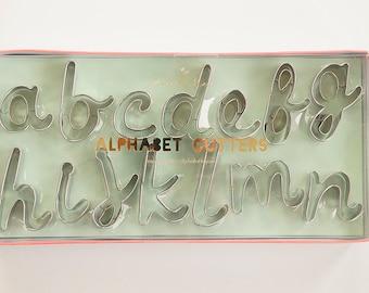 Cursive Alphabet Letters Cookie Cutter Set   Meri Meri   Handwritten Script Font Cutters   Fondant Letter Cutter Set
