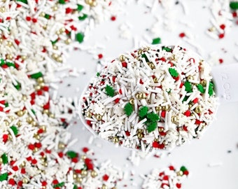 sweetapolita twinkle sprinkles peppermint frosting 4oz 8oz christmas sprinkle mix holiday sprinkle mix white and red sprinkles - Christmas Sprinkles