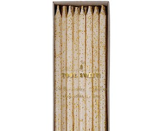 Gold Glitter Tall Birthday Cake Candles 24 ct. | Meri Meri | skinny birthday candles | tall birthday candles | gold party decor