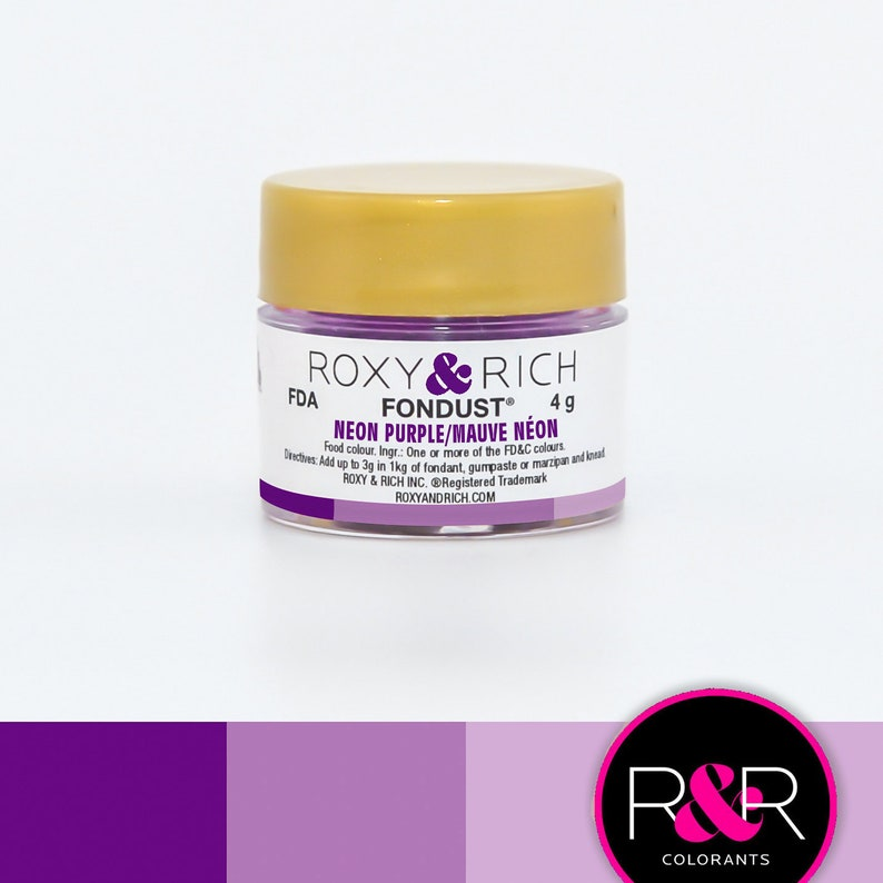 Roxy and Rich Fondust- Neon Purple 4g | Edible Purple Dust | Concentrated  Purple Food Coloring