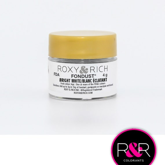 Roxy and Rich Fondust- Bright White 4g | Edible White Dust | Concentrated White Food Coloring
