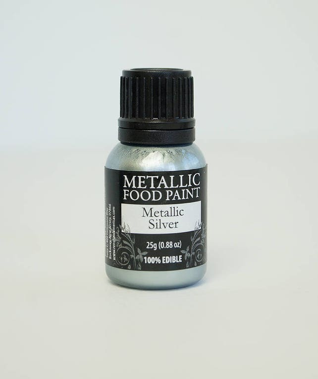 Metallic Silver 25g- US Edible food Paint by Rainbow Dust for cake, cookie, confectionery decorating