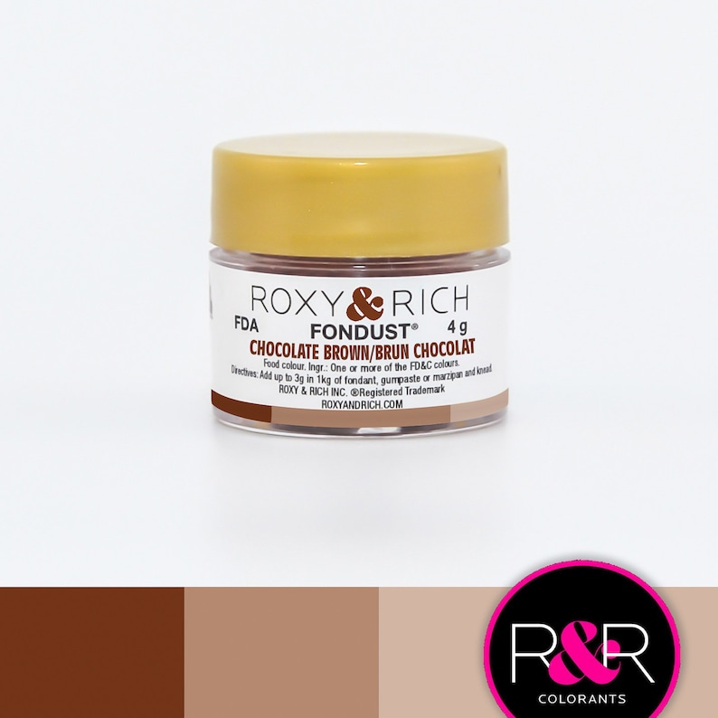 Roxy and Rich Fondust- Chocolate Brown 4g | Edible Brown Dust |  Concentrated Brown Food Coloring