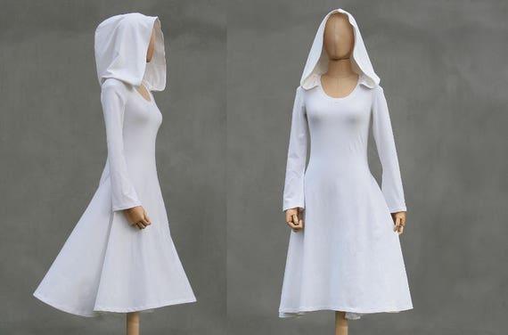 Short White Hood Dress