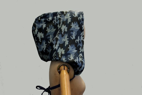Army blue Victorian XXL hood singel big hood organic   Etsy 90acac896f8