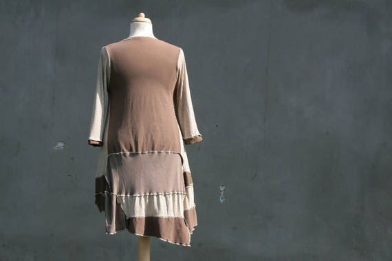 Brown hippie woman symmetrical pixie sleeved 3 chaos friendly cotton Taupe L Upcycled a tunic Size eco OOAK XL recycled 4 BBwPZ0rq