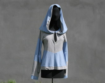 Hooded shirt, Victorian XXL hood, size XS/ S,  Blue with grey, OOAK long sleeves, recycled cotton, jersey top, eco friendly woman Solmode