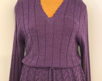 Vintage 1980/'s Wyndcliff sweater dress  eighties hot pink and black striped dress  medium
