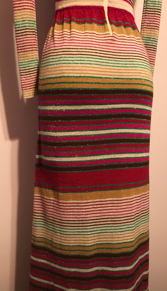 Vintage 1970 Party Dress~Full Length Striped Knit… - image 3