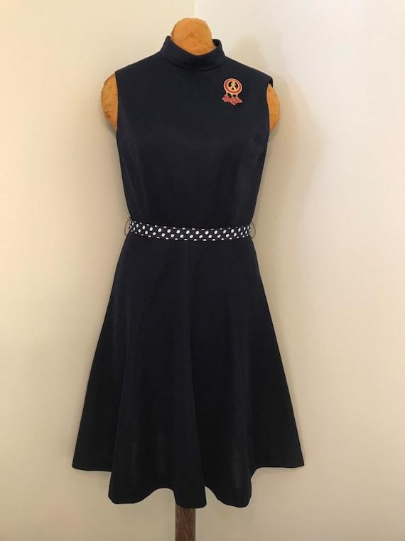 Vintage 1970 Navy Blue Textured Polyester Knit Dr… - image 4
