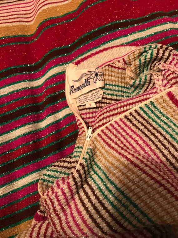 Vintage 1970 Party Dress~Full Length Striped Knit… - image 8