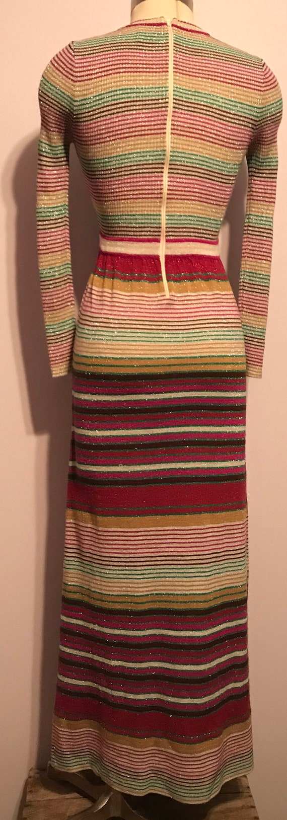Vintage 1970 Party Dress~Full Length Striped Knit… - image 6
