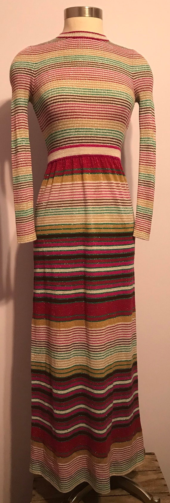 Vintage 1970 Party Dress~Full Length Striped Knit… - image 2