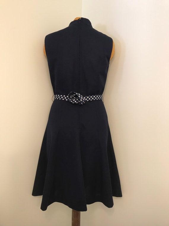 Vintage 1970 Navy Blue Textured Polyester Knit Dr… - image 5