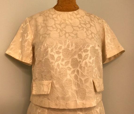 Vintage 1960 Winter White Brocade 2 Piece Suit~Top