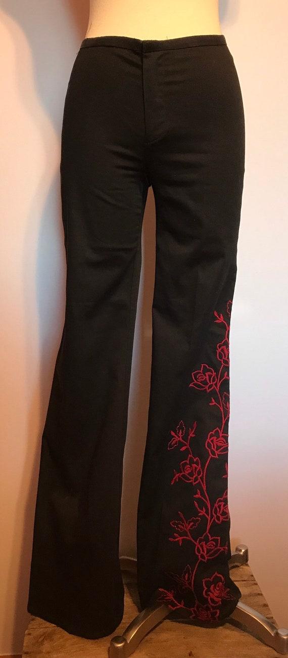 Betsey Johnson Label Black Bell Bottom Pants~Rose