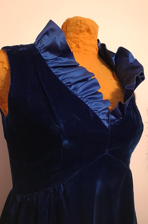 Vintage 1960 Royal Blue Velvet Cocktail Dress~Gown