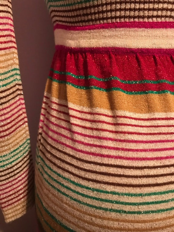 Vintage 1970 Party Dress~Full Length Striped Knit… - image 7