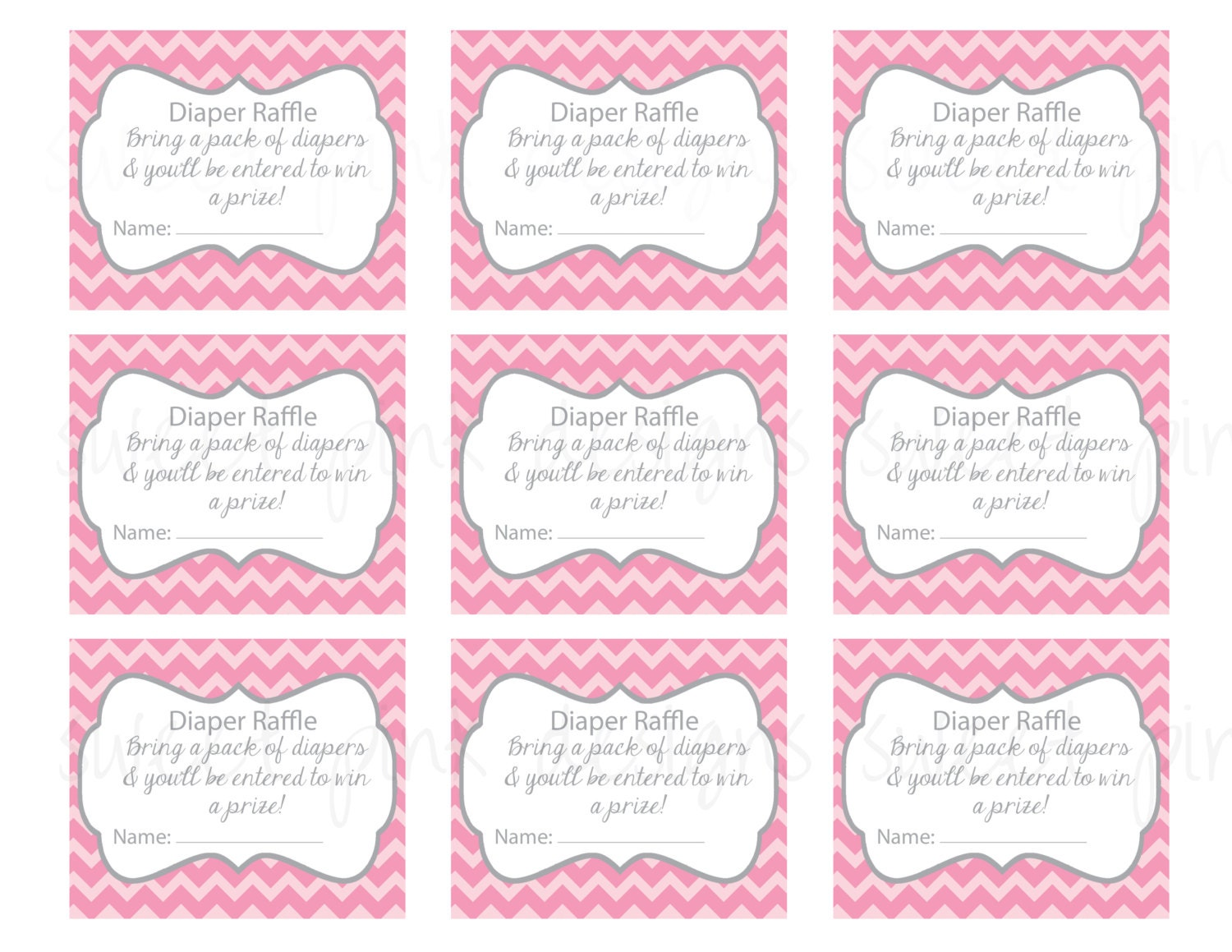photo regarding Free Printable Diaper Raffle Ticket Template Download identified as Diaper Raffle Ticket- Gray and Crimson Chevron
