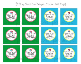 """Printable 2"""" Party Circles Teachers Summer Gift Tags"""